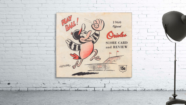 1960 baltimore orioles baseball score card art baseball poster