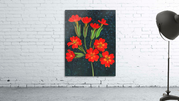 Red flowers shining in a magical starry night