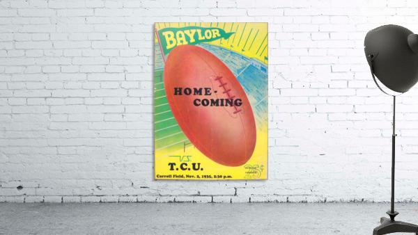 1935 College Football Program Cover Art Poster  Baylor Bears vs. TCU Football Art Print Posters