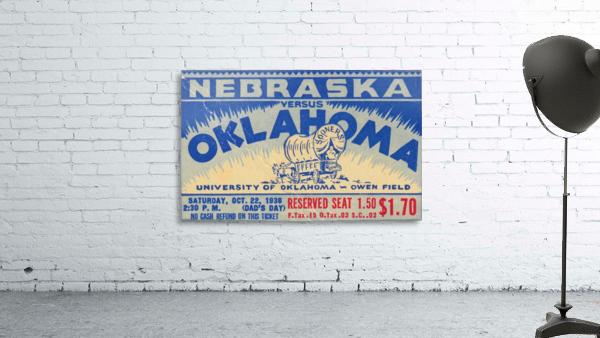 oklahoma football metal sign sooners ticket stub collection row 1 row one vintage sports art brand