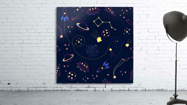 Cartoon space seamless pattern vectors