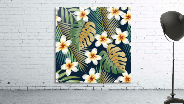 seamless pattern with tropical strelitzia flowers leaves exotic background_