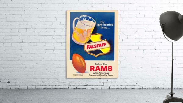 vintage falstaff beer ad poster la rams retro football metal sign
