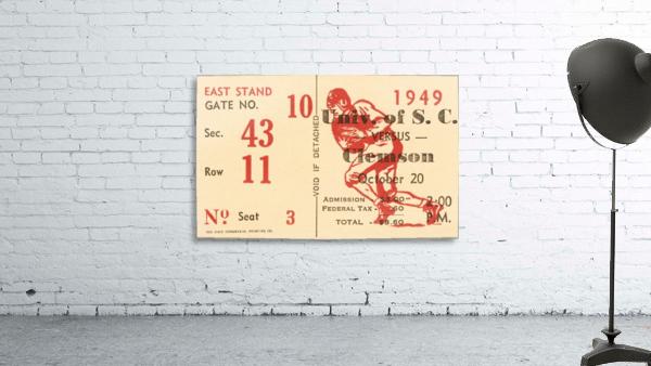 1949 south carolina gamecocks palmetto bowl ticket stub wall art metal sign wood prints