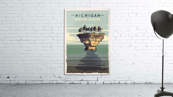 michigan retro poster usa michigan travel illustration united states america