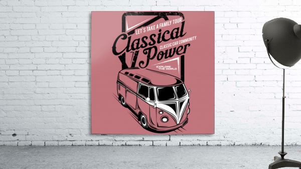 Lets take family tour classical power illustration classic family car