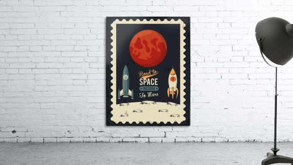Life space poster with mars rocket rockets