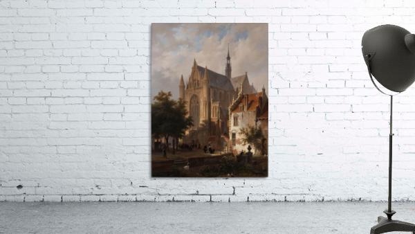 Het uitgaan van de kerk in Leiden