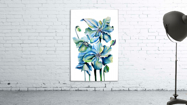 Blue Poppies Watercolor