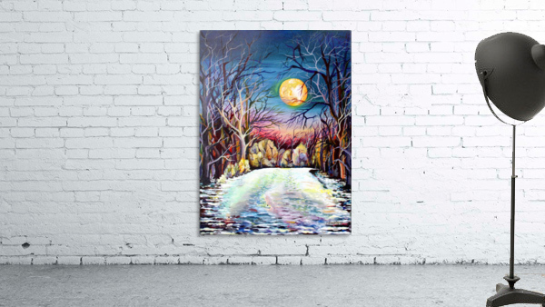 Winter Full Moon Night Landscape Watercolor