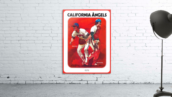 retro california angels poster baseball art row one (1)