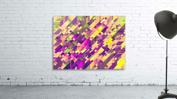 geometric square pixel pattern abstract background in pink purple green
