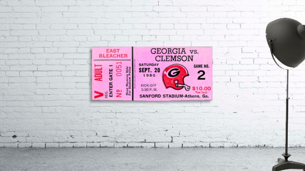 university of georgia college football ticket stub print on wood