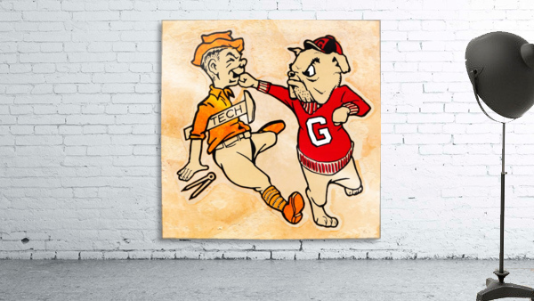 Vintage Georgia Bulldog Punching Tech Engineer College Canvas Print Wood