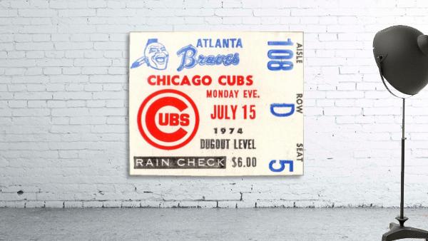 1974_Major League Baseball_Chicago Cubs vs. Atlanta Braves Ticket Stub Art
