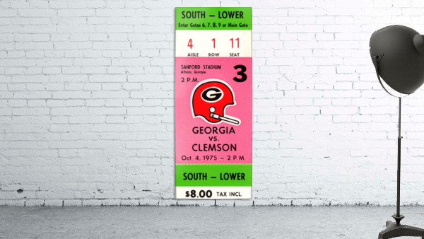 1975 college football clemson georgia bulldogs sanford stadium athens ticket stub canvas