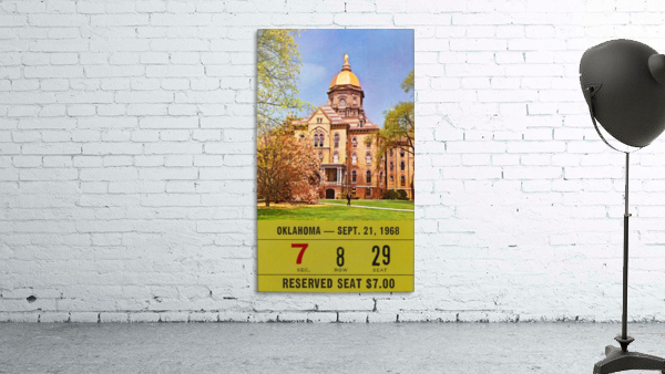 1968 oklahoma sooners notre dame college football south bend indiana sports tickets wall art