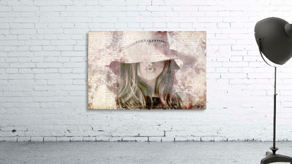 Lovely Girl with Hat on Vintage paper