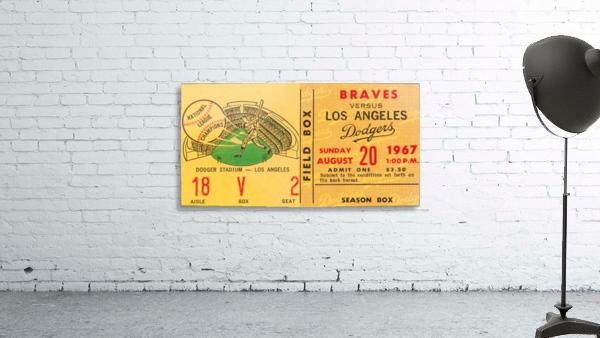 1967 la dodgers atlanta braves baseball sports ticket art