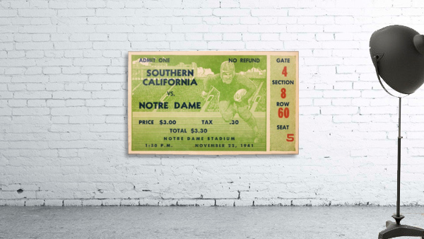 1941 usc notre dame football ticket wall art sports gift ideas south bend indiana