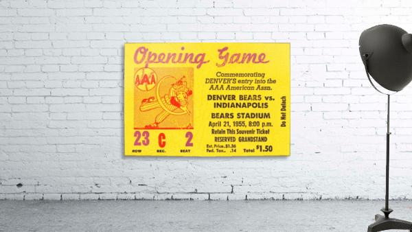 1955 aaa baseball denver bears opening game baseball ticket stub frame canvas