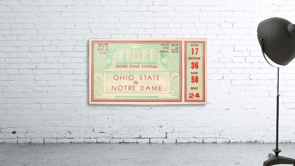 1936 notre dame ohio state football ticket stub sports art