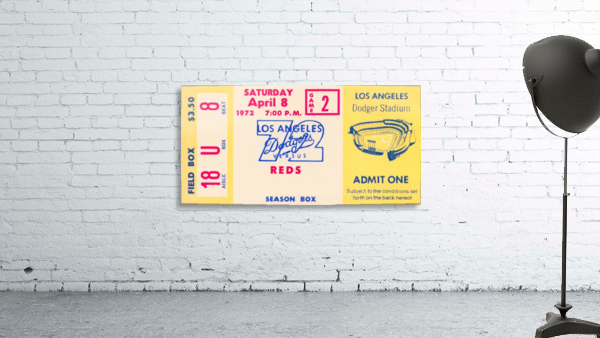 1972 la dodgers field level box baseball ticket stub canvas art