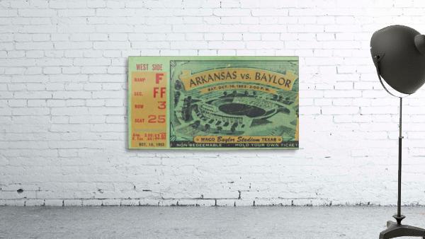 1953 arkansas baylor football ticket wall art