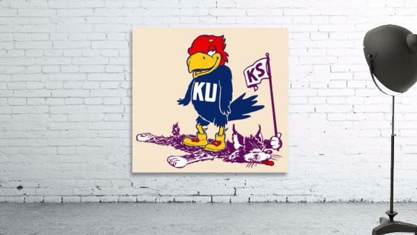 Vintage Kansas Jayhawk Standing Over K-State Wildcat Art