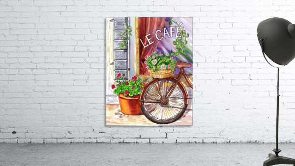 French Cafe And Bicycle With Basket