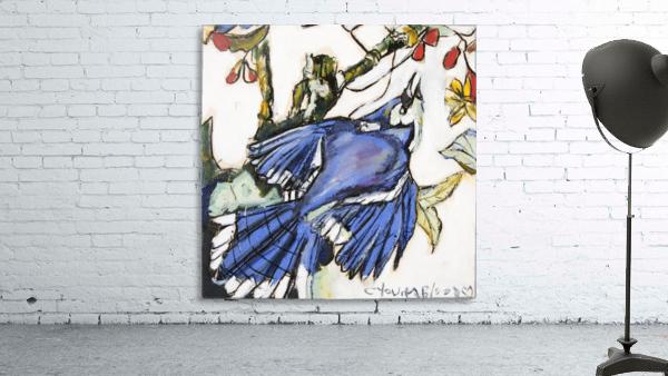 Louisiana Blue Jay Study on Wood