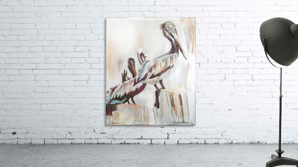 Louisiana Pelicans in the Fog with Metallic Silver