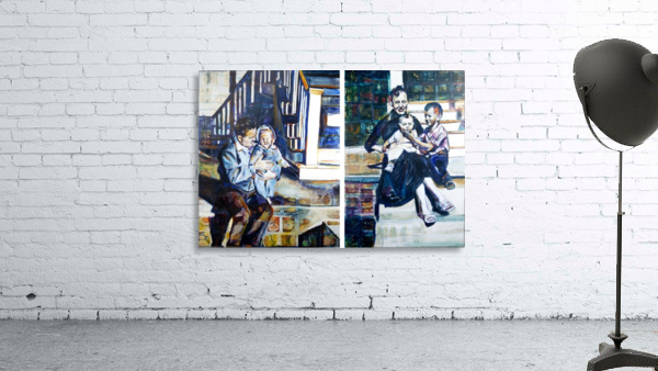 Louisiana father and Mother at the Stairs Diptych with Vintage Recipe Collage