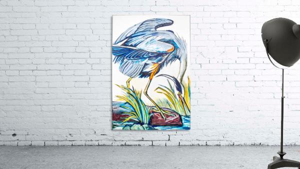 Louisiana Blue Heron Catching Fish- Bright