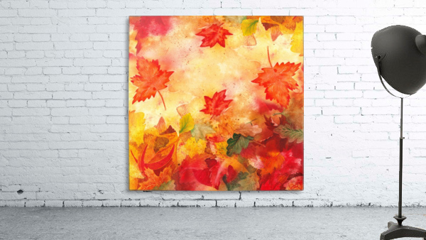 Welcome Fall Red Green Yellow Birch Oak Maple Watercolor Leaves