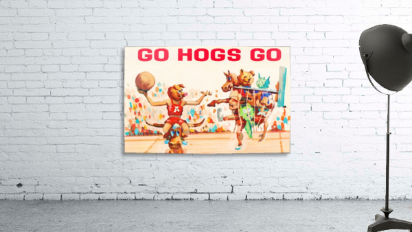 1984 Arkansas Cartoon Basketball Art