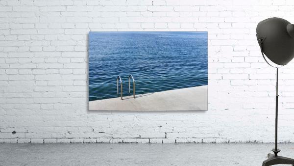 Pool ladder on the shore of the slovenian adriatic coast Piran Slovenia