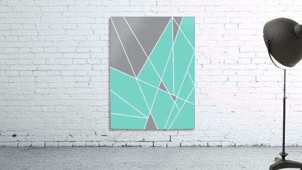 Gray Teal Triangles Geometric Art GAT101-2