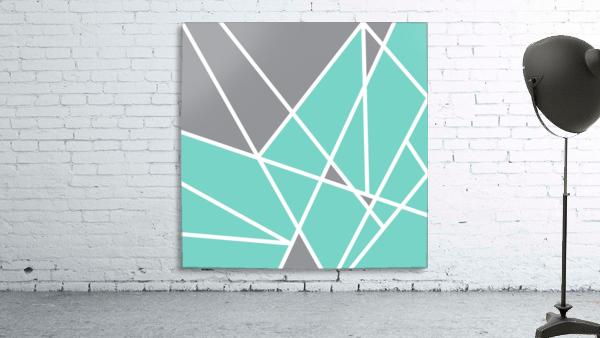 Gray Teal Triangles Geometric Art GAT101 square