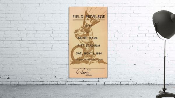 1934 Pitt vs. Notre Dame Football Press Pass