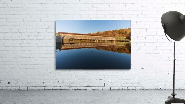 Harpersfield covered bridge and reflection Ashtabula County Ohio