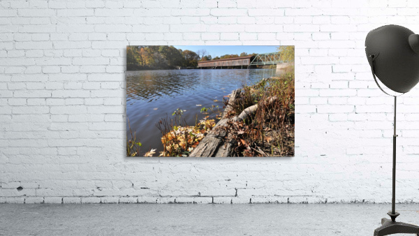 Harpersfield Ohio covered bridge in autumn from east side