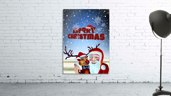 Santa Clause and Rudolph in Magical Winter night