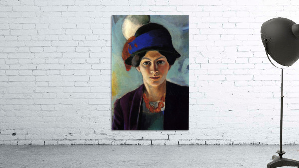 Portrait of the wife of the artist with a hat by Macke