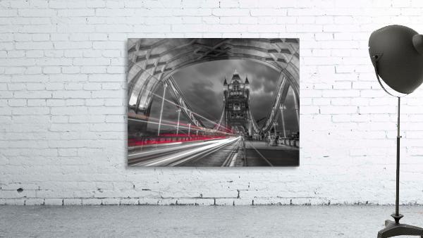Tower bridge with strip lights, London, UK