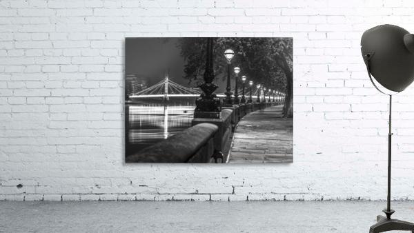 London Riverside Promenade with Albert Bridge