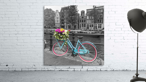 Bicycle with bunch of roses on bridge, Amsterdam
