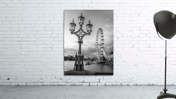 Street lamp with London Eye, London, UK
