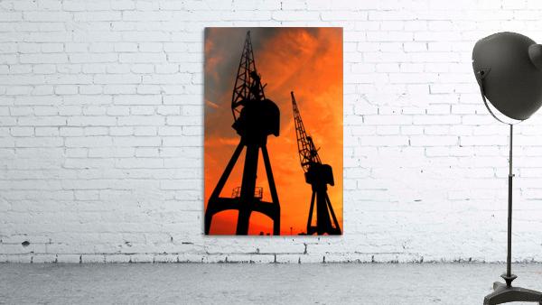 Sunset port tower cranes