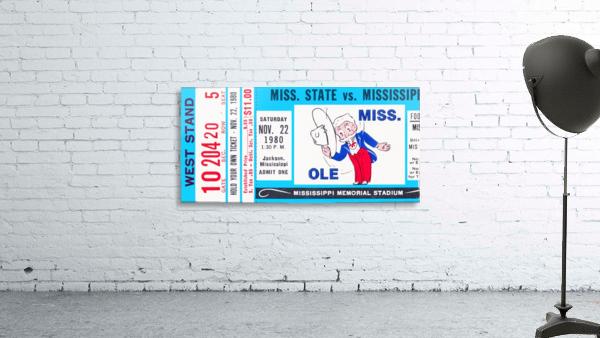 1980 Ole Miss vs. Miss State Football Ticket Stub Art